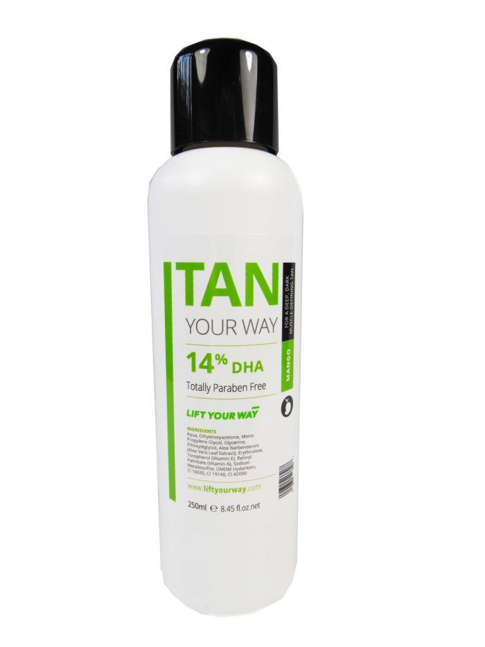 Sample size of dark spray tan